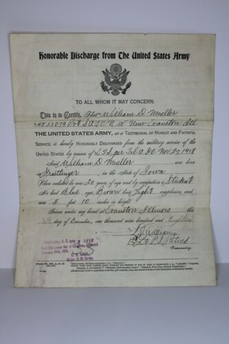 Antique World War 1 WWI Honorable Discharge US Army 1919 Document