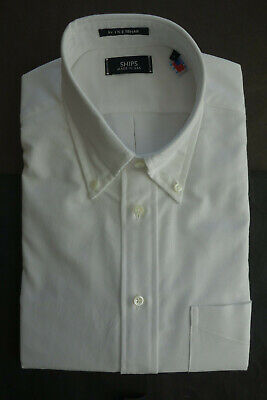 NWOT Ike Behar For SHIPS White Oxford Cloth Button Down Large L 15-33.5 Ex Slim