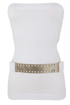 Used, Women White Stretch Belt Elastic Hip High Waist Gold Metal Plate Buckle Size S M for sale  Shipping to India