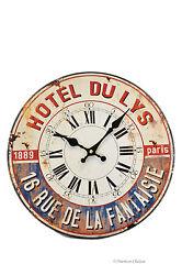 Vintage Style French Decor Hotel De La Lys Deco Paris Wall Kitchen Clock