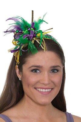Mardi Gras Festival Headband with Feathers, Beads and Ribbon](Mardi Gras Headband)
