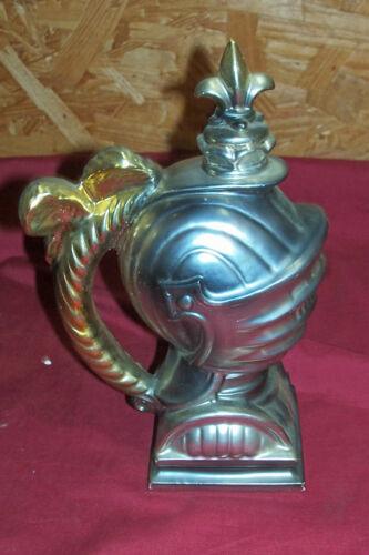 Old Knights Helmet Music Box Liquor Decanter Vintage Bar Whisky Whiskey Bottle