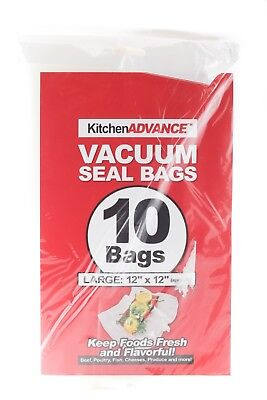 """Kitchen Advance Vacuum Seal 10 Bags Large: 12"""" x 12""""  Food Stays Fresh Longer for sale  Shipping to India"""