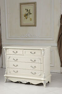 Devonport French Provincial  shabby chic 5 chest of drawers/ lowboy/ dresser