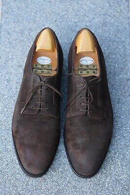 Rare MTO John Lobb Size 9.5E Roughout Suede Plain Toe Derby - Lobb Refurbished