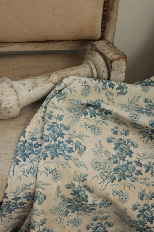 Blue floral fabric antique French 19th century roses picotage aged patina old
