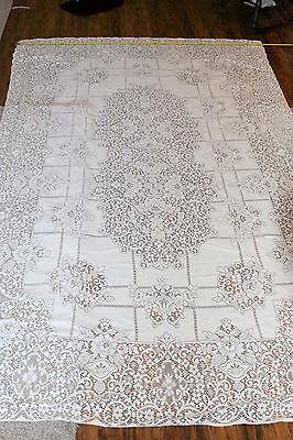 """ANTIQUE Lace, Banquet Tablecloth 64""""x102"""" Gorgeous Pattern!!!"""
