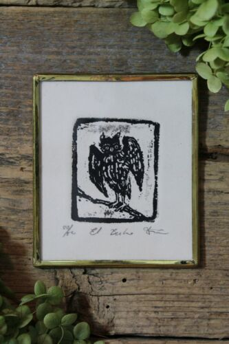 Wise Old Owl Woodcut Small Print Handmade Brass Framed - Abelar Mexican Folk Art