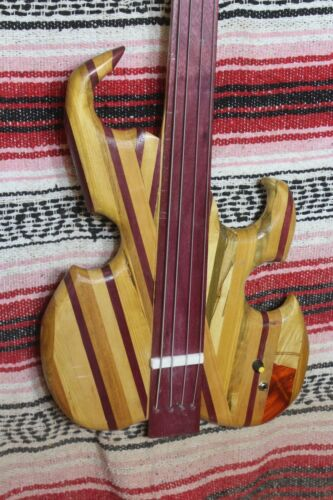 "Bass Fretless 4 String Upcycled Multi Wood Wishbass Short Scale 30"" Piezo"