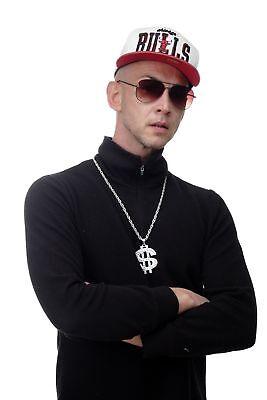 Dollar Zeichen Kette Anhänger Bling Old School Hip Hop OG Gangster silberfarben