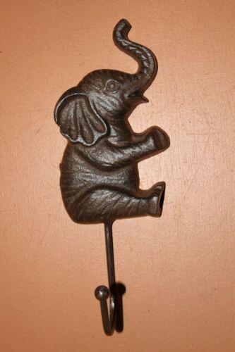Retro Circus Elephant Design Towel Hooks, Cast Iron Rustic Brown, H-116
