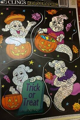 1 page Vintage Holographic Color Clings Ghosts Halloween Window Clings