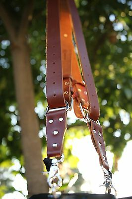 Genuine Leather Two-Camera Harness Belt/Strap - Brown Leather/Silver Hardware