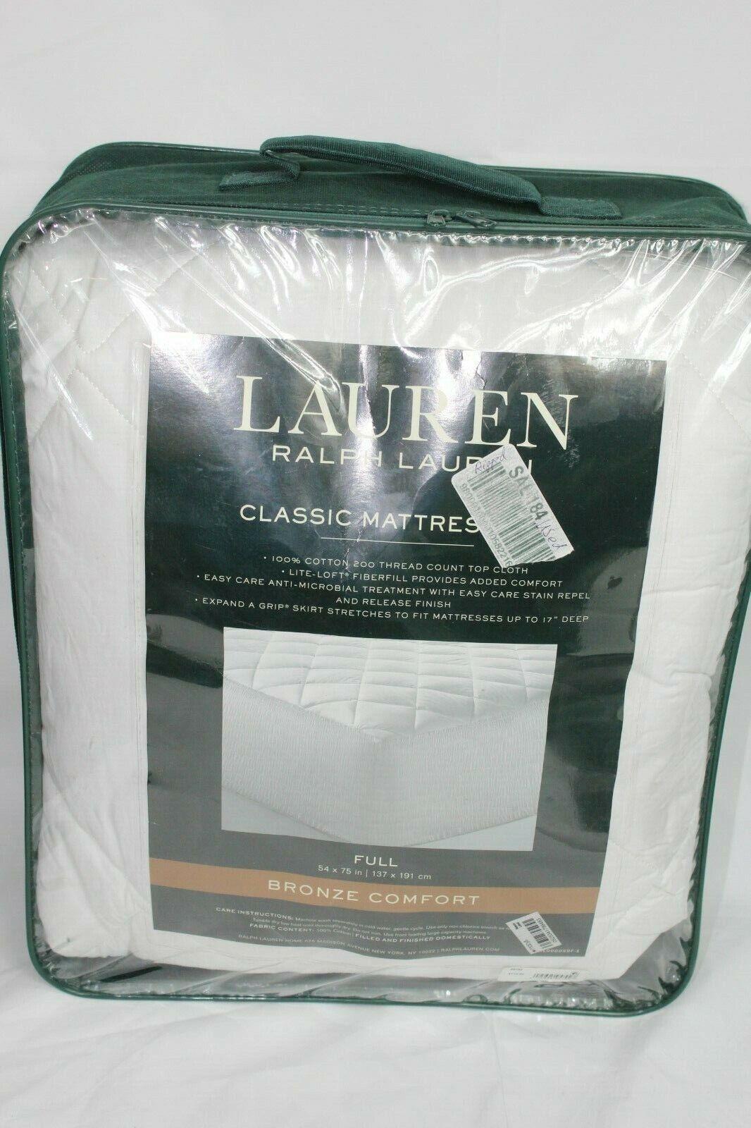 Ralph Lauren Home Bronze Comfort FULL Mattress Pad 200 TC Co