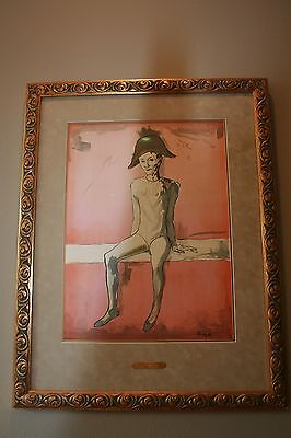 "Picasso Lithograph ""Seated Harlequin"" Paris 1905"