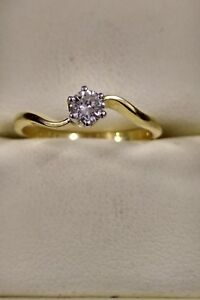 BEAUTIFUL PRELOVED 18ct YELLOW GOLD BOODLES 0.24ct DIAMOND SOLITAIRE RING
