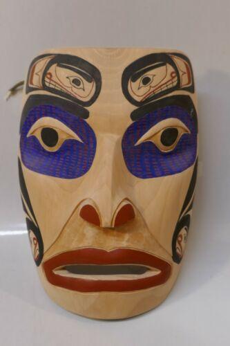 2014 Signed Ron Alphonse Carved Alder Wood Poly-Chrome Native Portrait Mask