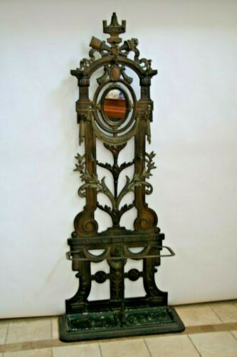 Antique Cast Iron Hall Tree Victorian Coat Rack Tilt Mirror Stand Great Patina