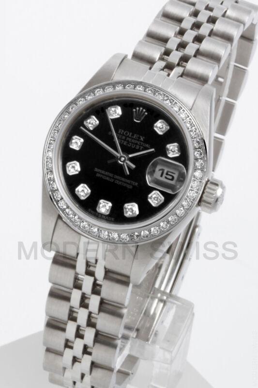 Rolex Ladies Datejust Steel Black Diamond Dial & Bezel Jubilee Quickset Oyster