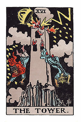 "Tower Tarot Card, post card size 4"" x 6"" GIANT!"
