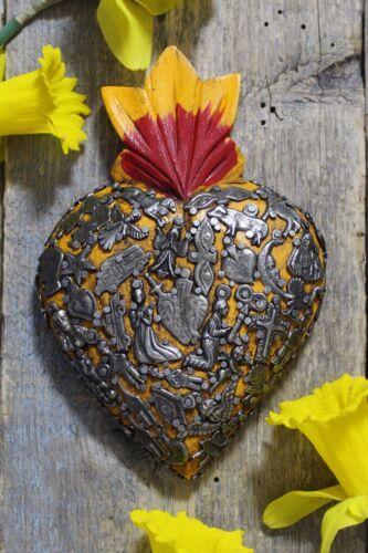 Medium Yellow Sacred Heart Wood with Milagros Miracle Mexican Folk Art Michoacán