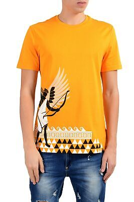 Versace Collection Men's Mango Orange Graphic Short Sleeve Crewneck T-Shirt