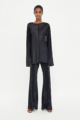 $70 ZARA CONTRASTING PLEATED TOP-Black-ref 7568/008-size S-NWT