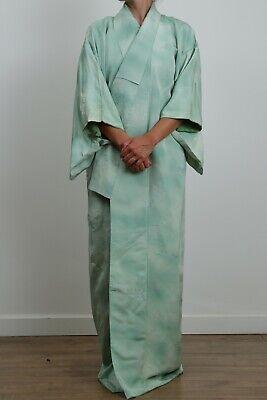 Authentic traditional vintage Japanese rinzu silk green kimono
