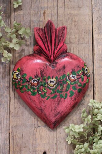 Sacred Heart Hand Painted Flowers Handmade Wood Mexican Folk Art Michoacan