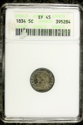 1834 - ANACS EF45 Capped Bust Half Dime!!  #B19021