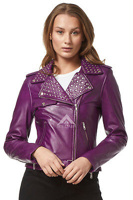 Womens Domino (Ladies DOMINO Purple Washed Rockstar Women's Real Studded Leather Jacket 4326)