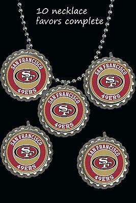 Nfl Party Favors (San Francisco 49ers   BottleCap Necklaces party favors lot of 10 necklace)