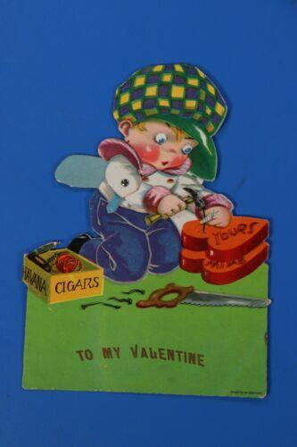 "VTG Antique Mechanical Valentines Card ""Havana Cigars"" Printed in Germany"