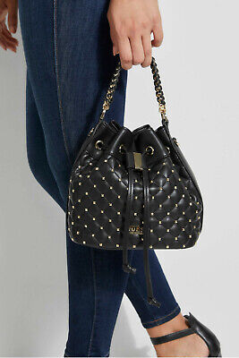 NWT GUESS Lauren Studded Bucket Bag Drawstring Handbag Black