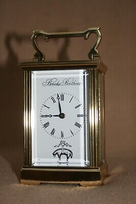 HEAVY BROOKS BROTHERS 8 DAY BRASS CARRIAGE CLOCK