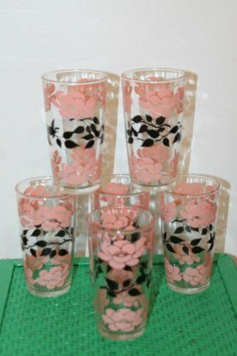 Vintage Hazel Atlas Pink Floral Glasses Tumblers Set of 6