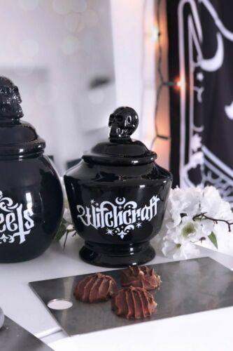Witchcraft Ceramic Canister Jar NEW Killstar Goth Home Skull Halloween Spooky Bl