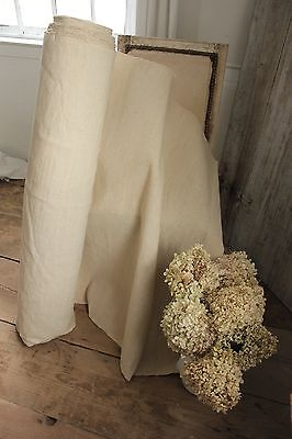 Vintage French linen + cotton METIS PER YARD Upholstery fabric unbleached 1YD