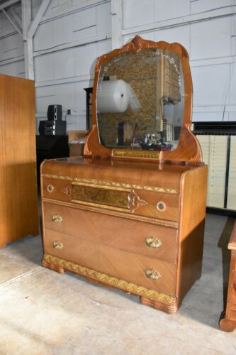 Antique Art Deco Waterfall Style Bedroom Dresser with Mirror