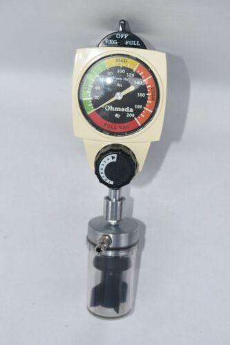 Ohmeda 200 Wall Continuous Vacuum Regulator 0-200 w/Chemetron Mount & Water Trap