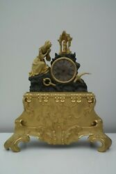 French antique gilt bronze clock ship clock virgin mary mantel maritime clock