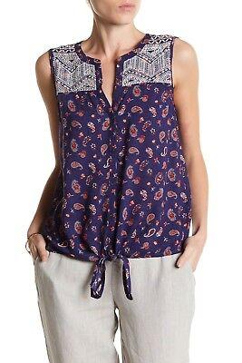 NWT Lucky Brand Paisley Sleeveless Tie Front Blouse Shirt Blue Multi Sz Medium M