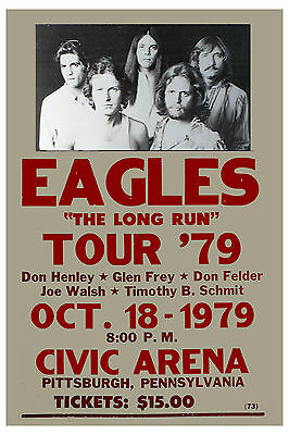 The Eagles * The Long Run Tour * Pittsburg PA.  Concert Poster 1979
