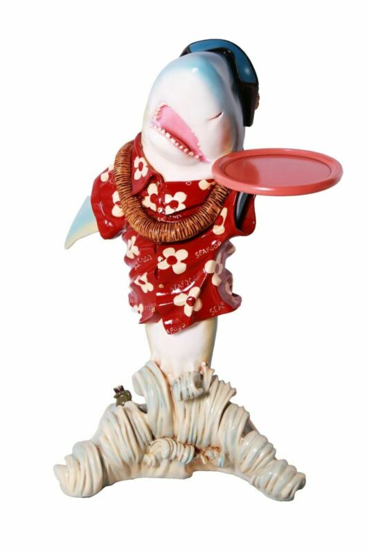 """35"""" Sharky Butler With a Tray Statue Novelty Restaurant Kitchen Collectible"""