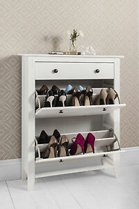 Deluxe White Wood Shoe Cabinet