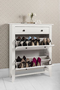 Shoe Storage Wood Cabinet Deluxe with Storage Drawer Cotswold in White