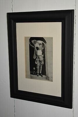 Original framed/matted abstract collage artwork 'Vegan In A Doorway'