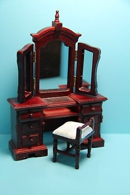 Dollhouse Miniature Vanity with Mirror and Fabric Seat Chair in Mahogany ~ T3384, used for sale  Shipping to India