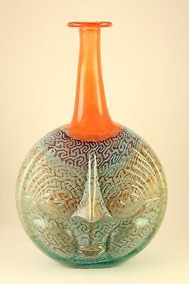 Vtg Kosta Boda Art Glass Rare Rio Face Vase Bottle Signed Kjell Engman #89513
