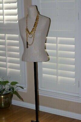 Female Mannequin Adjustable Clothing Form Metal Base Beige